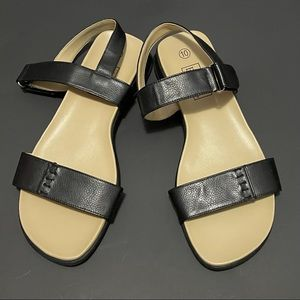 Basic Editions Black and Tan Sandals